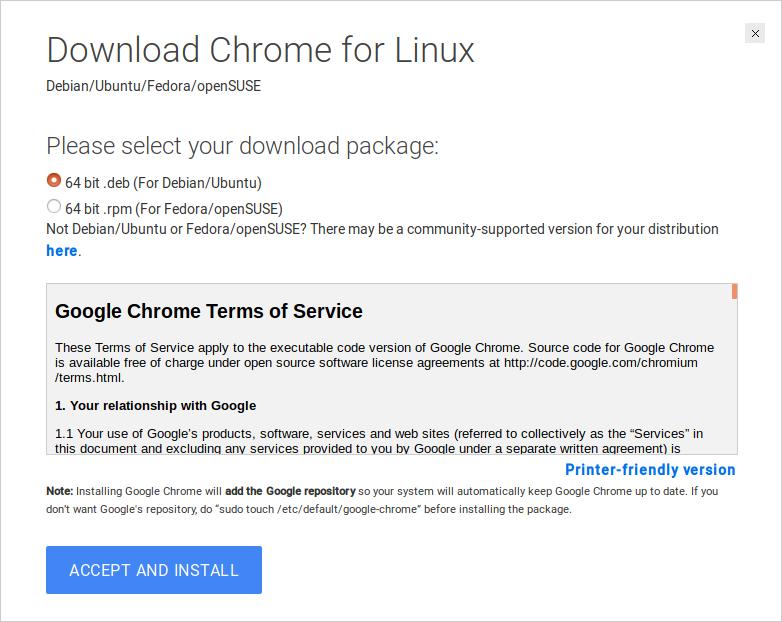 cara install google chrome di linux