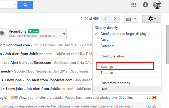 cara setting gmail